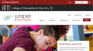 Juniper Institute for Young Writers website